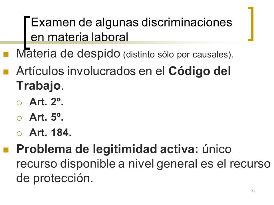 35 Examen de algunas discriminaciones en materia laboral Materia de despido (distinto sólo por causales). Artículos involucrados en el Código del Trab