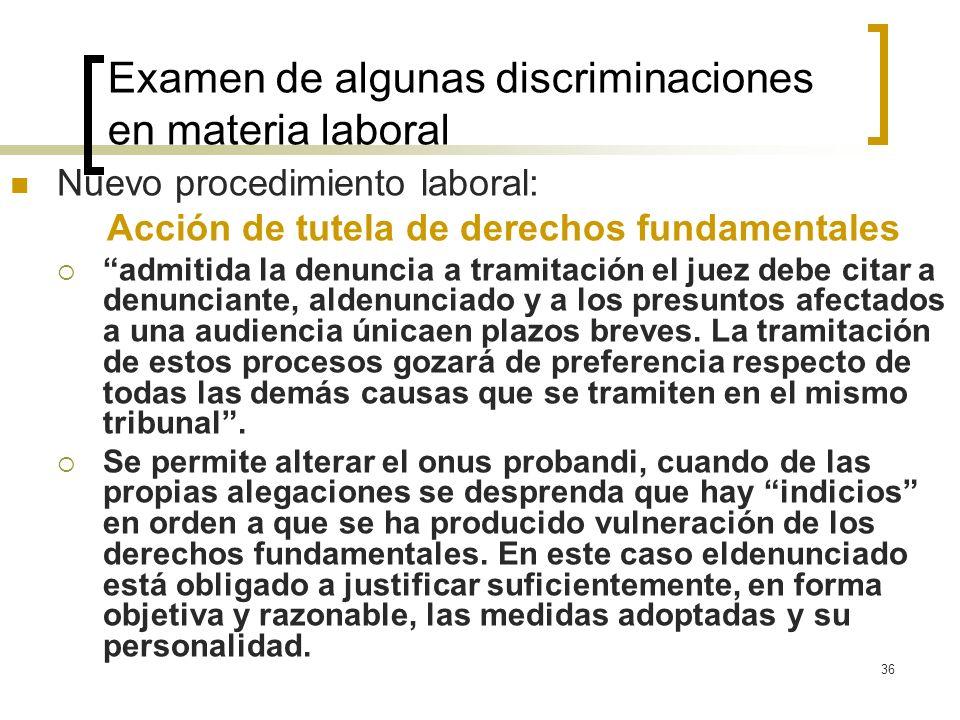 36 Examen de algunas discriminaciones en materia laboral Nuevo procedimiento laboral: Acción de tutela de derechos fundamentales admitida la denuncia
