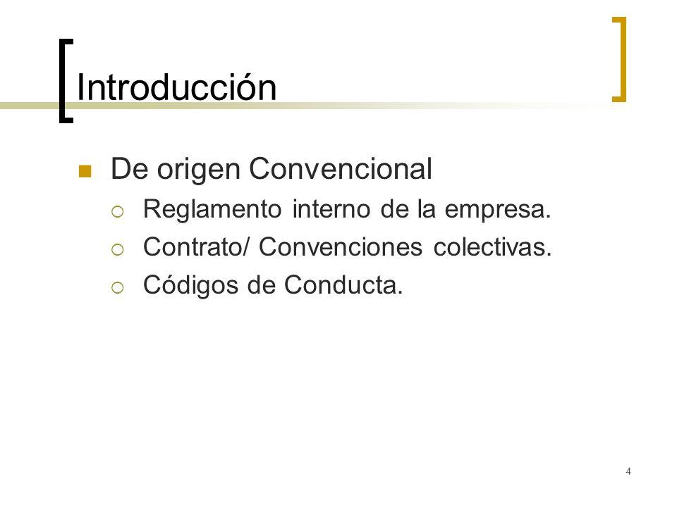 4 Introducción De origen Convencional Reglamento interno de la empresa. Contrato/ Convenciones colectivas. Códigos de Conducta.