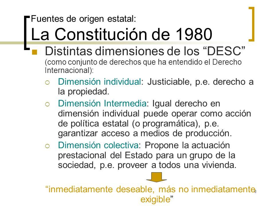 8 Fuentes de origen estatal: La Constitución de 1980 Distintas dimensiones de los DESC (como conjunto de derechos que ha entendido el Derecho Internac
