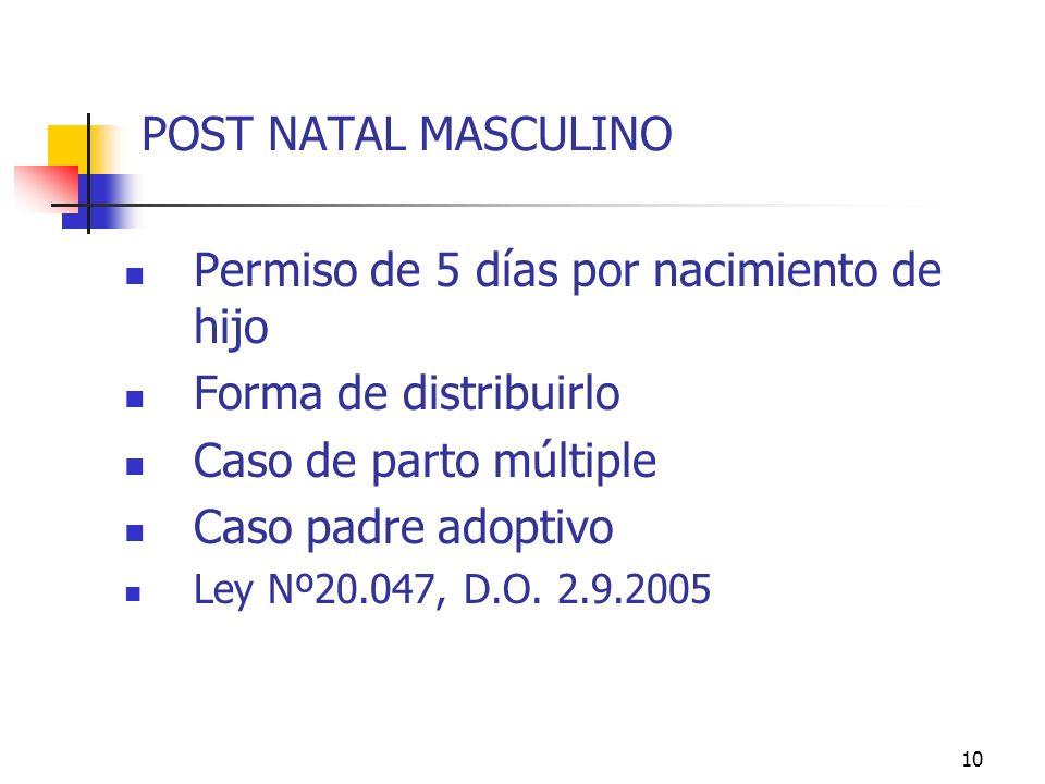 10 POST NATAL MASCULINO Permiso de 5 días por nacimiento de hijo Forma de distribuirlo Caso de parto múltiple Caso padre adoptivo Ley Nº20.047, D.O.