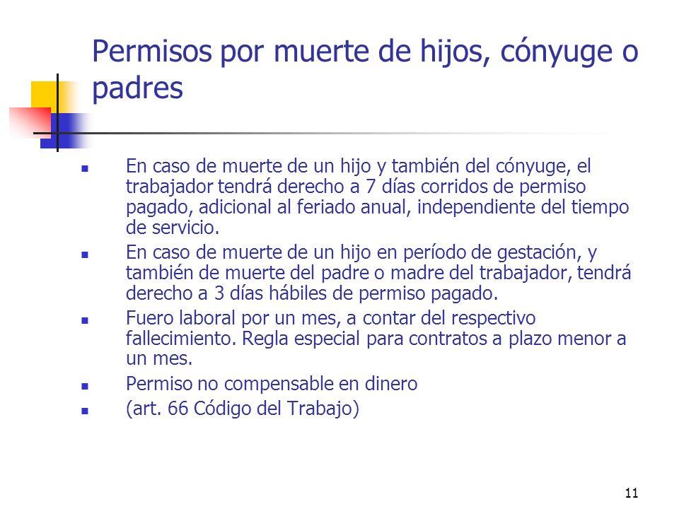 11 Permisos por muerte de hijos, cónyuge o padres En caso de muerte de un hijo y también del cónyuge, el trabajador tendrá derecho a 7 días corridos de permiso pagado, adicional al feriado anual, independiente del tiempo de servicio.