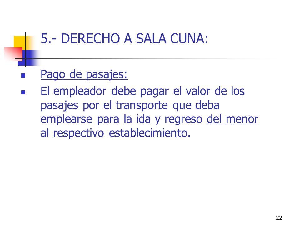 22 5.- DERECHO A SALA CUNA: Pago de pasajes: El empleador debe pagar el valor de los pasajes por el transporte que deba emplearse para la ida y regreso del menor al respectivo establecimiento.