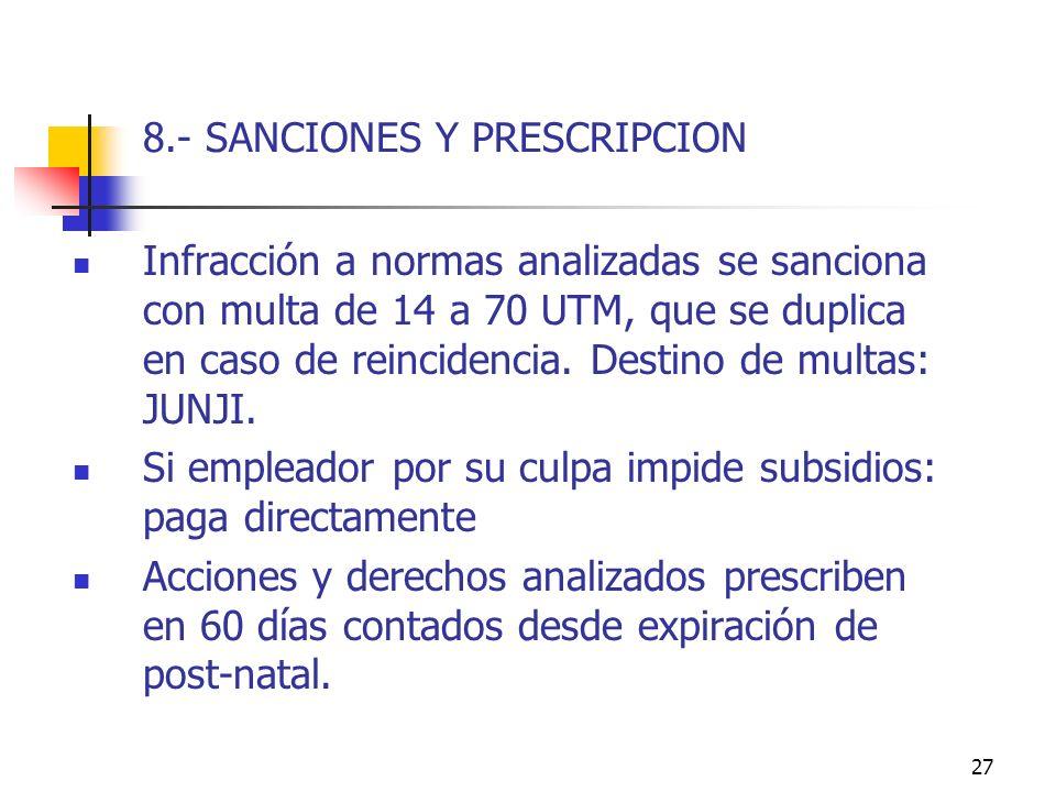 27 8.- SANCIONES Y PRESCRIPCION Infracción a normas analizadas se sanciona con multa de 14 a 70 UTM, que se duplica en caso de reincidencia.