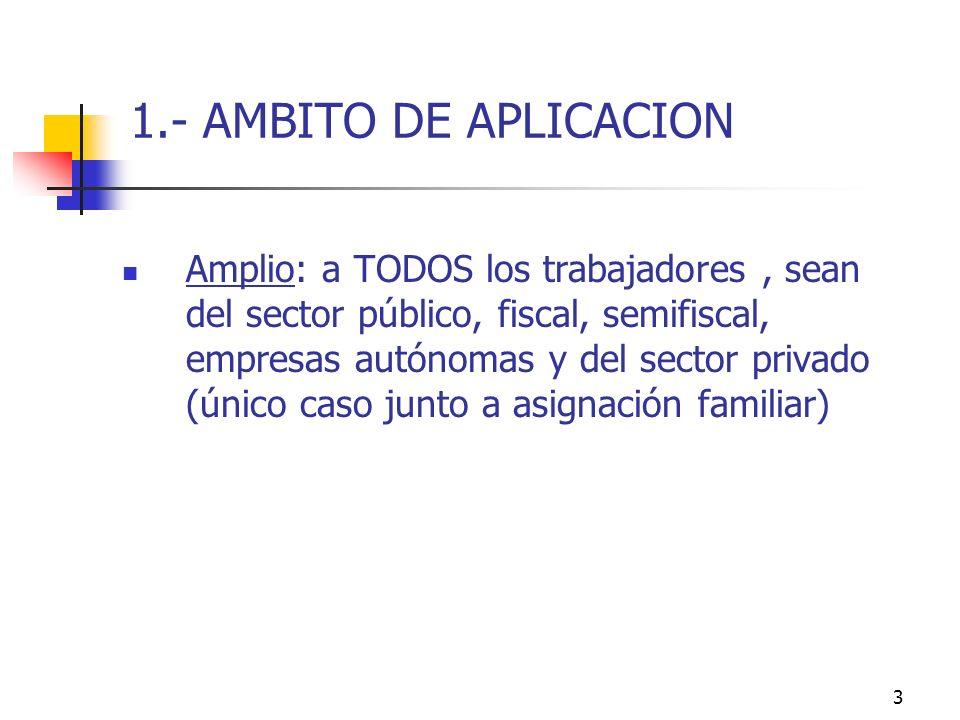 3 1.- AMBITO DE APLICACION Amplio: a TODOS los trabajadores, sean del sector público, fiscal, semifiscal, empresas autónomas y del sector privado (único caso junto a asignación familiar)