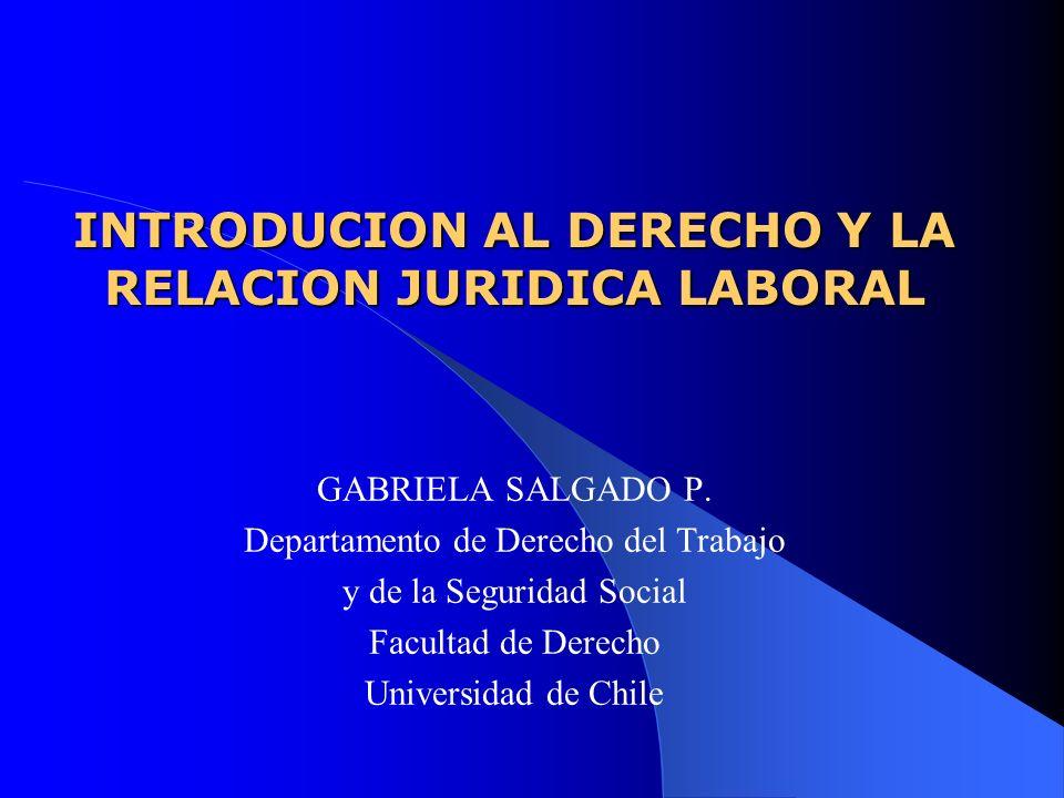 INTRODUCION AL DERECHO Y LA RELACION JURIDICA LABORAL GABRIELA SALGADO P. Departamento de Derecho del Trabajo y de la Seguridad Social Facultad de Der