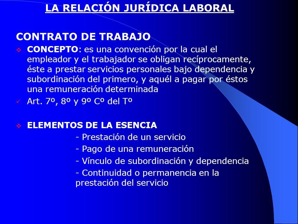 LA RELACIÓN JURÍDICA LABORAL CONTRATO DE TRABAJO CONCEPTO: es una convención por la cual el empleador y el trabajador se obligan recíprocamente, éste