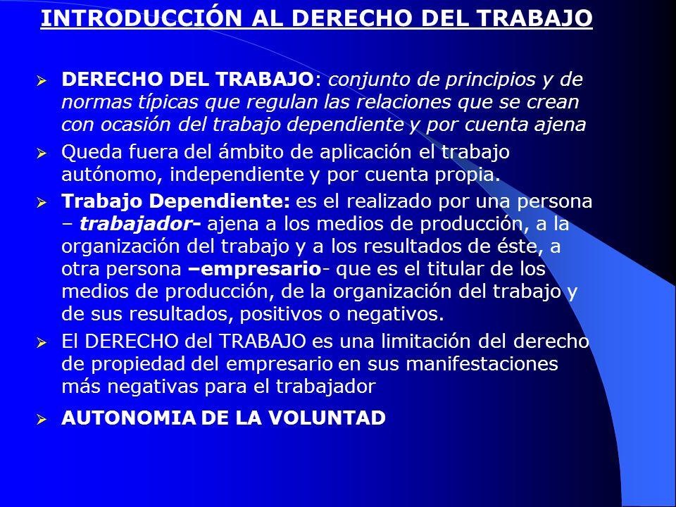 INTRODUCCIÓN AL DERECHO DEL TRABAJO DERECHO DEL TRABAJO: conjunto de principios y de normas típicas que regulan las relaciones que se crean con ocasió
