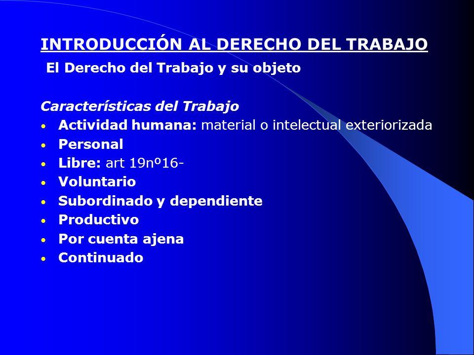 INTRODUCCIÓN AL DERECHO DEL TRABAJO El Derecho del Trabajo y su objeto Características del Trabajo Actividad humana: material o intelectual exterioriz