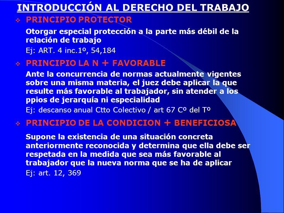INTRODUCCIÓN AL DERECHO DEL TRABAJO PRINCIPIO PROTECTOR Otorgar especial protección a la parte más débil de la relación de trabajo Ej: ART. 4 inc.1º,