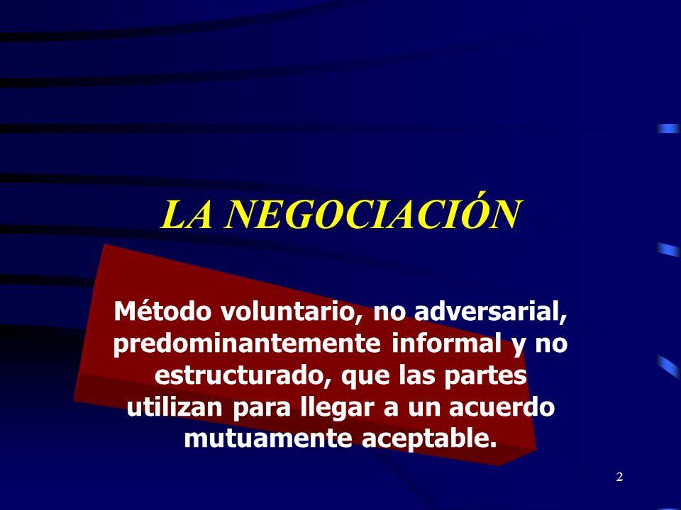 2 LA NEGOCIACIÓN Método voluntario, no adversarial, predominantemente informal y no estructurado, que las partes utilizan para llegar a un acuerdo mut