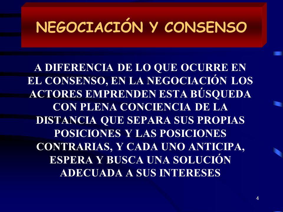 4 NEGOCIACIÓN Y CONSENSO A DIFERENCIA DE LO QUE OCURRE EN EL CONSENSO, EN LA NEGOCIACIÓN LOS ACTORES EMPRENDEN ESTA BÚSQUEDA CON PLENA CONCIENCIA DE L
