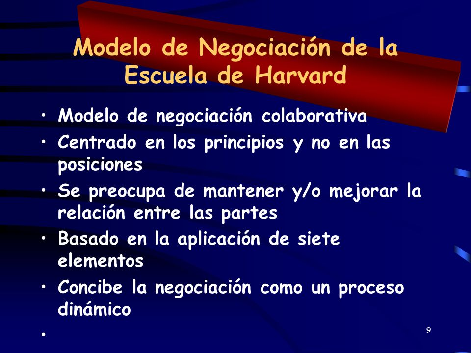 9 Modelo de Negociación de la Escuela de Harvard Modelo de negociación colaborativa Centrado en los principios y no en las posiciones Se preocupa de m