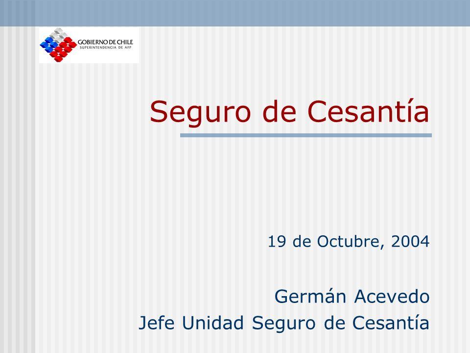 Seguro de Cesantía 19 de Octubre, 2004 Germán Acevedo Jefe Unidad Seguro de Cesantía