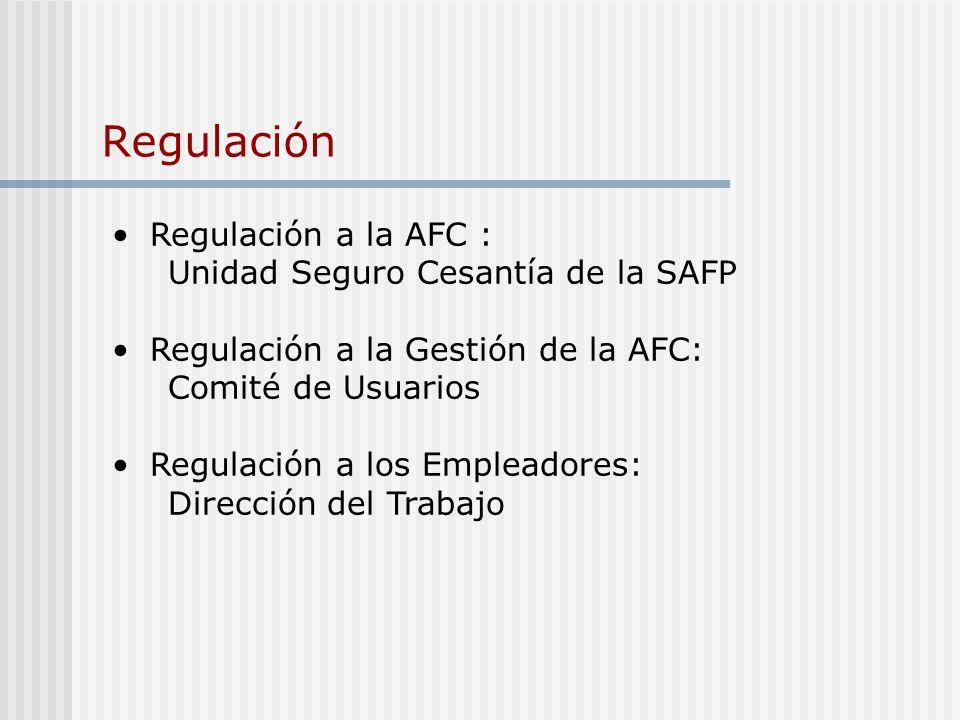 Regulación Regulación a la AFC : Unidad Seguro Cesantía de la SAFP Regulación a la Gestión de la AFC: Comité de Usuarios Regulación a los Empleadores: