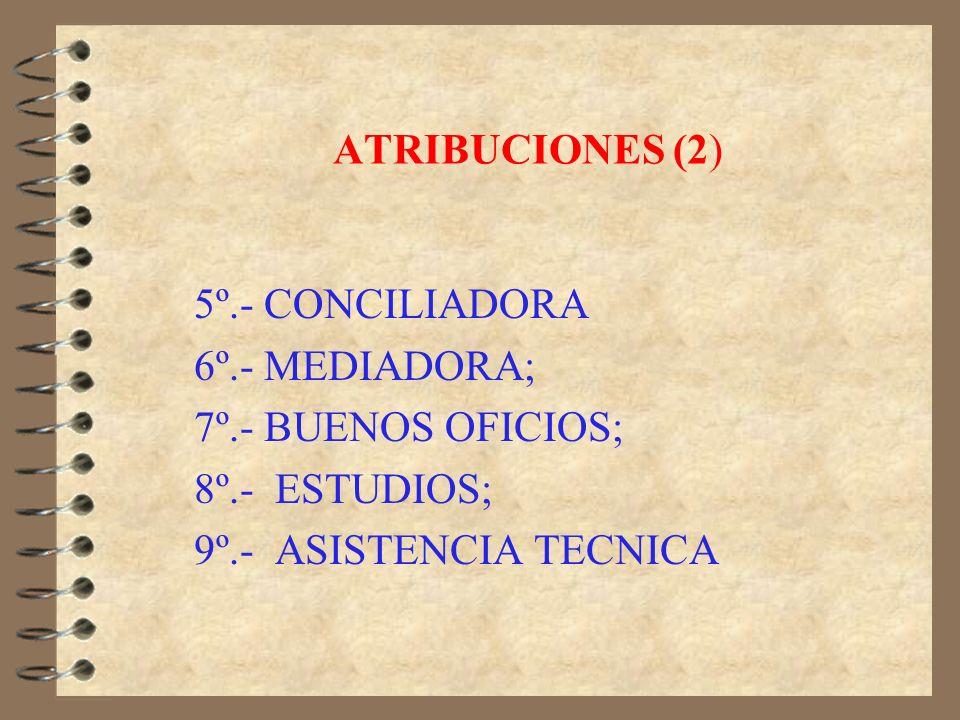 ATRIBUCIONES 1º.- INTERPRETADORA; 2º.- FISCALIZADORA; 3º.- INFORMA Y DENUNCIA A TRIBUNALES; 4º.- MINISTRO DE FE