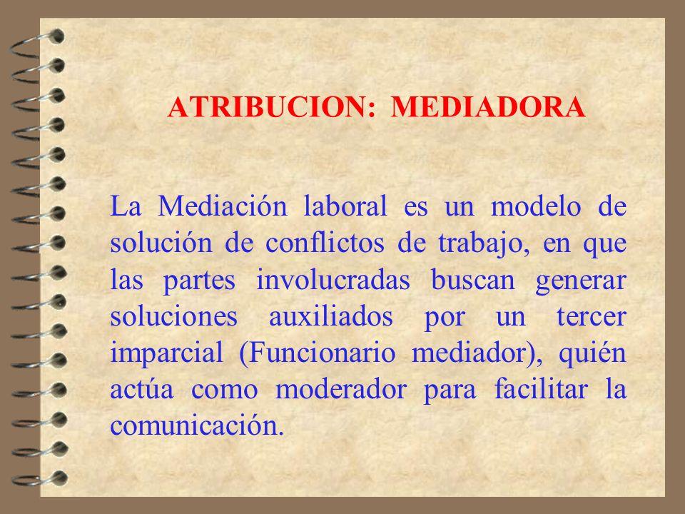 ATRIBUCION: CONCILIATORIA La conciliación individual es el método de solución de conflictos utilizado por la Dirección del Trabajo en cada una de sus