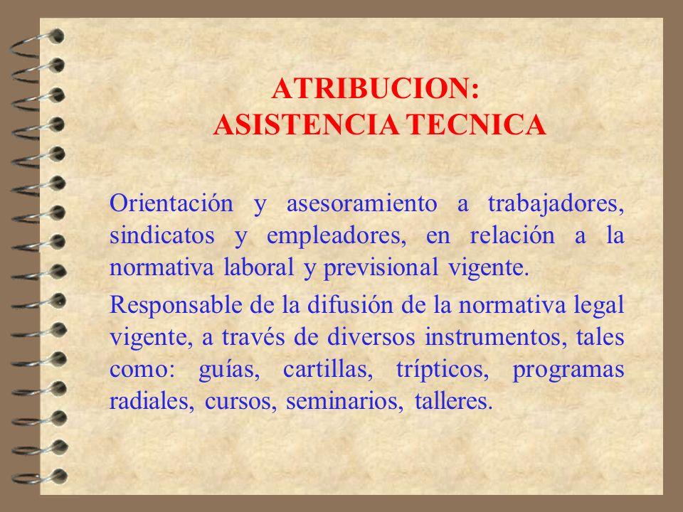ATRIBUCION: ESTUDIOS LABORALES Departamento responsable del análisis y estudios sobre la realidad laboral y la proposición de políticas públicas, sobr