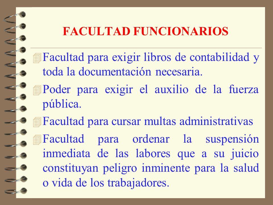 FACULTAD FUNCIONARIOS 4 Visitar lugares de trabajo a cualquier hora y aún fuera de su territorio jurisdiccional o cuando sean requeridos por personas