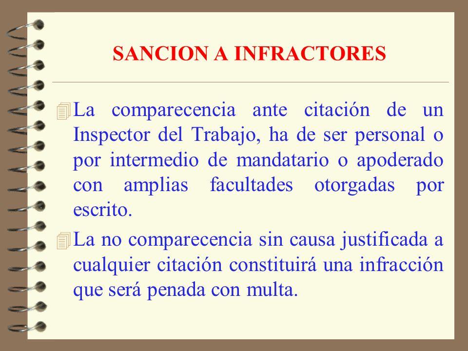 SANCION A INFRACTORES 4 El empleador será, en todo caso, directa y personalmente responsable de los impedimentos y dificultades que se opongan a la fi