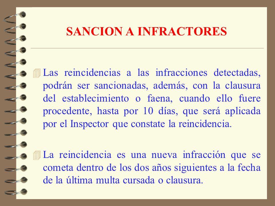 SANCION A INFRACTORES 4 Regla General: 1 a 20 UTM, según gravedad de la infracción; 4 50 o más trabajadores: 2 a 40 UTM 4 200 o más trabajadores: 3 a