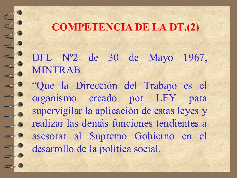 COMPETENCIA DE LA DT. 1.- Ley Nº2.315 de 2 de julio de 1910, crea la Oficina del Trabajo. 2.- Decreto Nº1.938 de 1919, dicta las atribuciones y compet