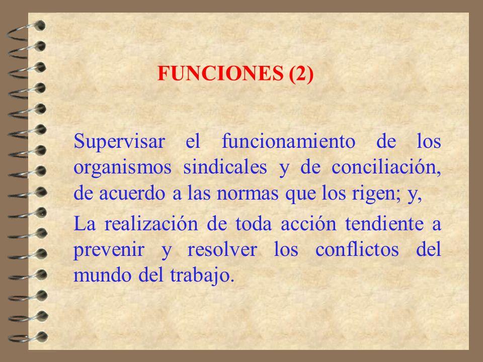FUNCIONES (1) Fiscalización de la aplicación de la ley laboral. Fijar de oficio o a petición de parte por medio de dictámenes el sentido y alcance de