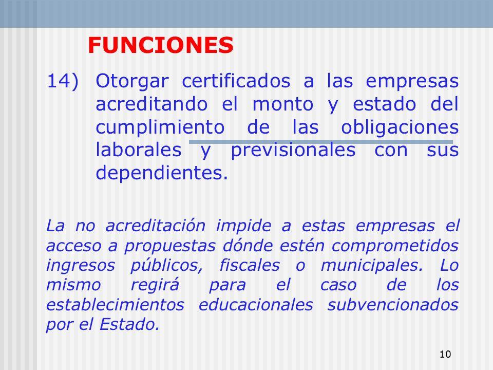10 FUNCIONES 14)Otorgar certificados a las empresas acreditando el monto y estado del cumplimiento de las obligaciones laborales y previsionales con s