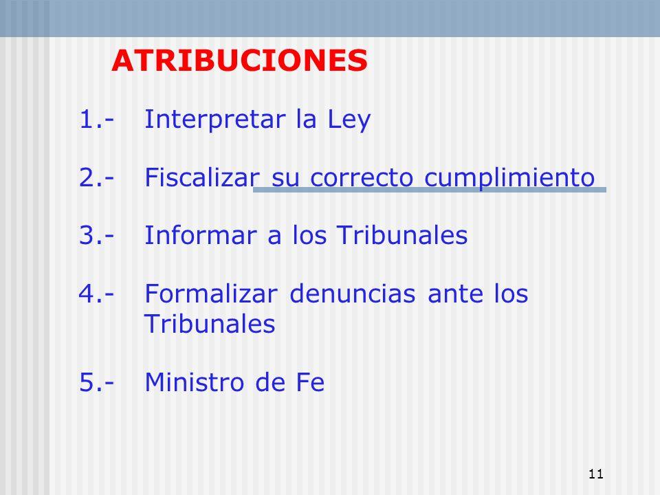 11 ATRIBUCIONES 1.-Interpretar la Ley 2.- Fiscalizar su correcto cumplimiento 3.- Informar a los Tribunales 4.- Formalizar denuncias ante los Tribunal
