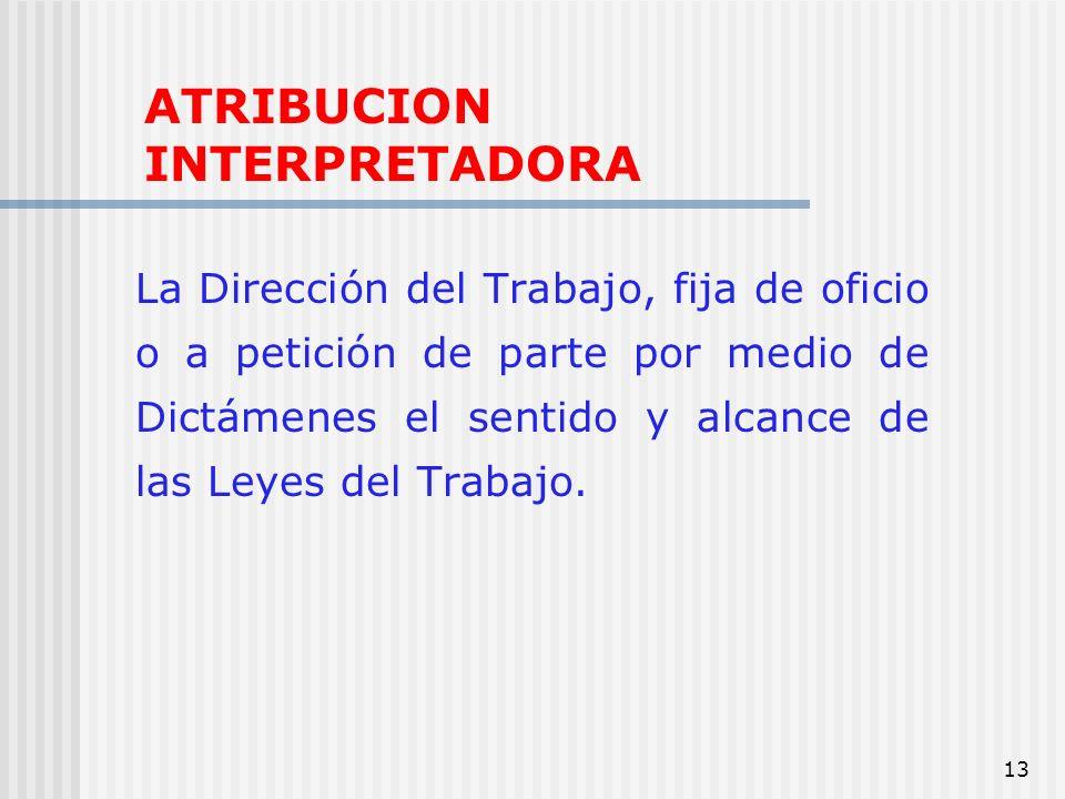 13 ATRIBUCION INTERPRETADORA La Dirección del Trabajo, fija de oficio o a petición de parte por medio de Dictámenes el sentido y alcance de las Leyes