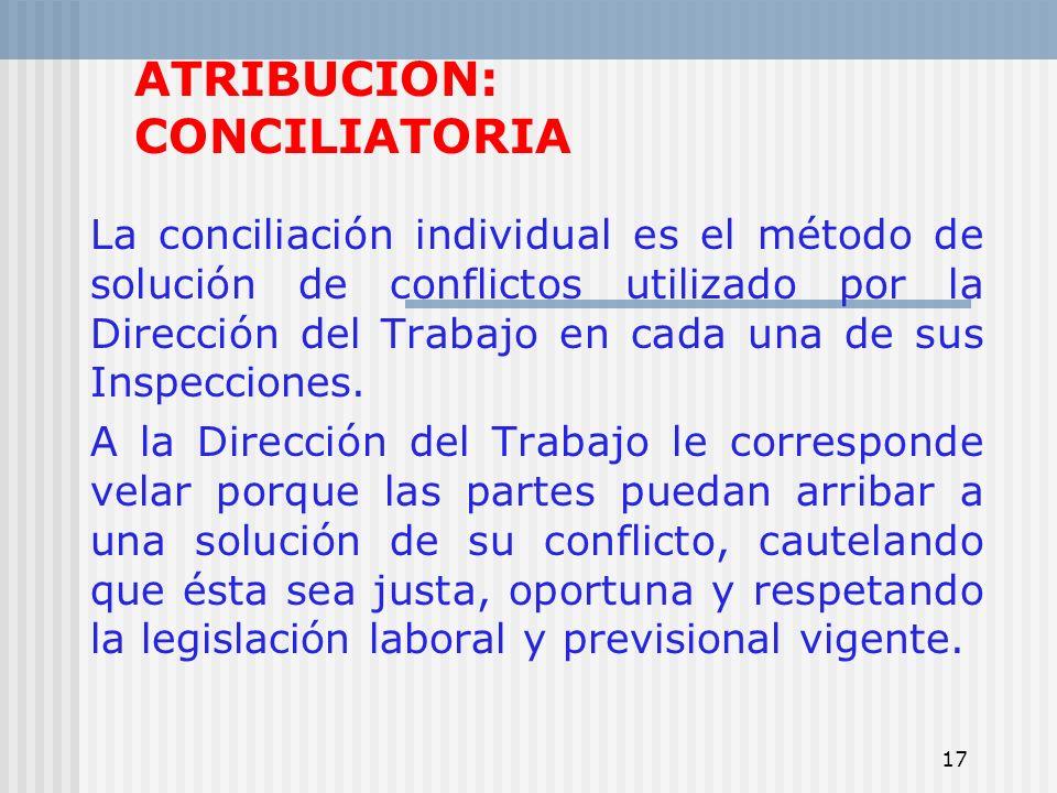 17 ATRIBUCION: CONCILIATORIA La conciliación individual es el método de solución de conflictos utilizado por la Dirección del Trabajo en cada una de s