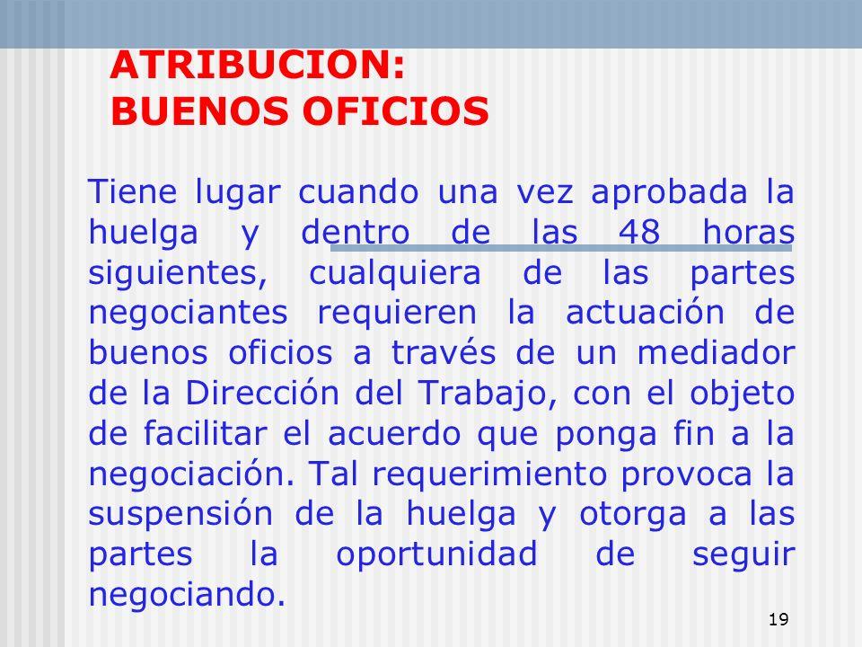 19 ATRIBUCION: BUENOS OFICIOS Tiene lugar cuando una vez aprobada la huelga y dentro de las 48 horas siguientes, cualquiera de las partes negociantes