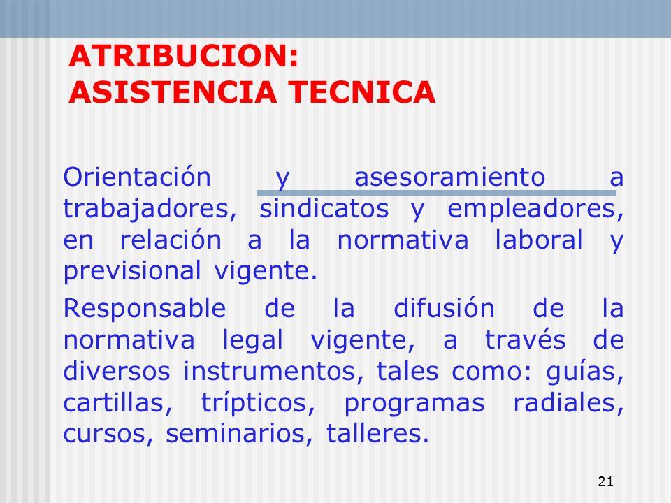 21 ATRIBUCION: ASISTENCIA TECNICA Orientación y asesoramiento a trabajadores, sindicatos y empleadores, en relación a la normativa laboral y prevision