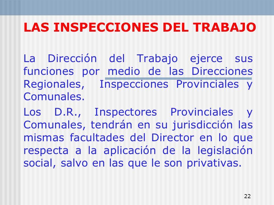22 LAS INSPECCIONES DEL TRABAJO La Dirección del Trabajo ejerce sus funciones por medio de las Direcciones Regionales, Inspecciones Provinciales y Com