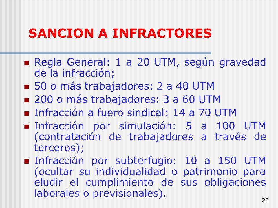 28 SANCION A INFRACTORES Regla General: 1 a 20 UTM, según gravedad de la infracción; 50 o más trabajadores: 2 a 40 UTM 200 o más trabajadores: 3 a 60