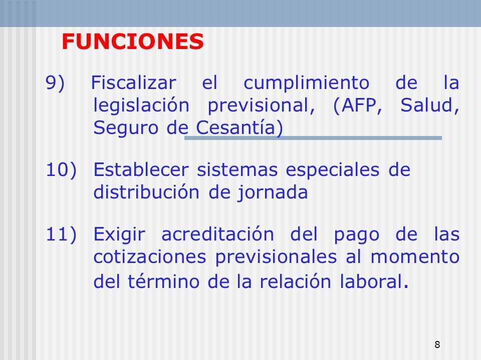 8 FUNCIONES 9) Fiscalizar el cumplimiento de la legislación previsional, (AFP, Salud, Seguro de Cesantía) 10)Establecer sistemas especiales de distrib