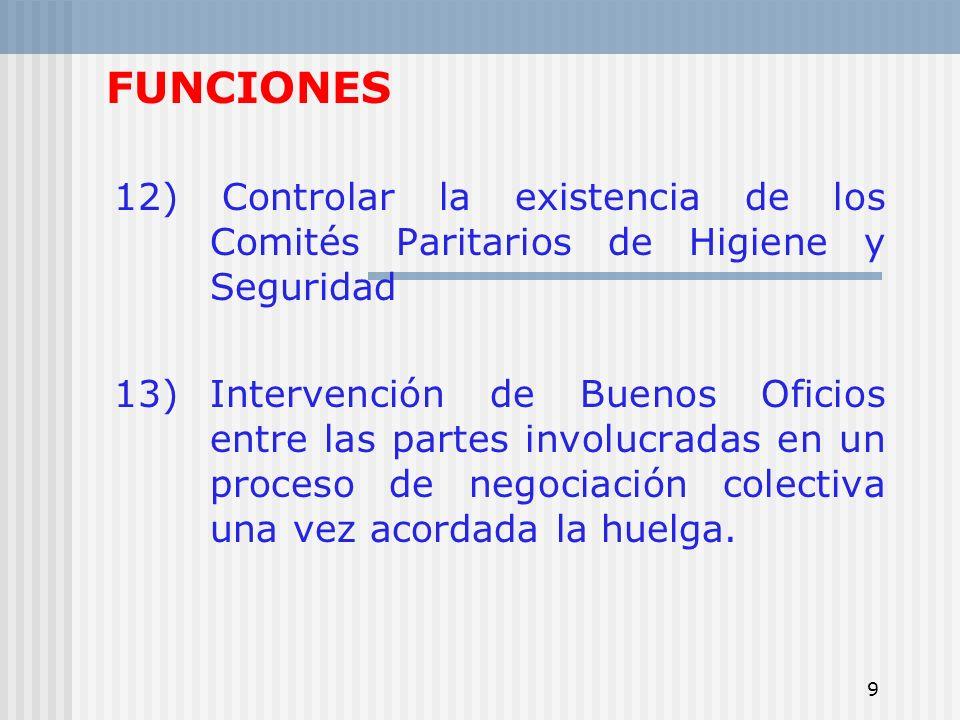 9 FUNCIONES 12) Controlar la existencia de los Comités Paritarios de Higiene y Seguridad 13) Intervención de Buenos Oficios entre las partes involucra
