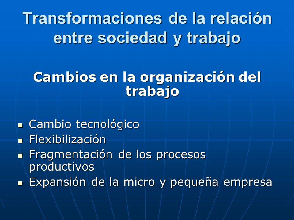 Transformaciones de la relación entre trabajo y sociedad Valoración de la idea de trabajo Mercantilización del trabajo asalariado.