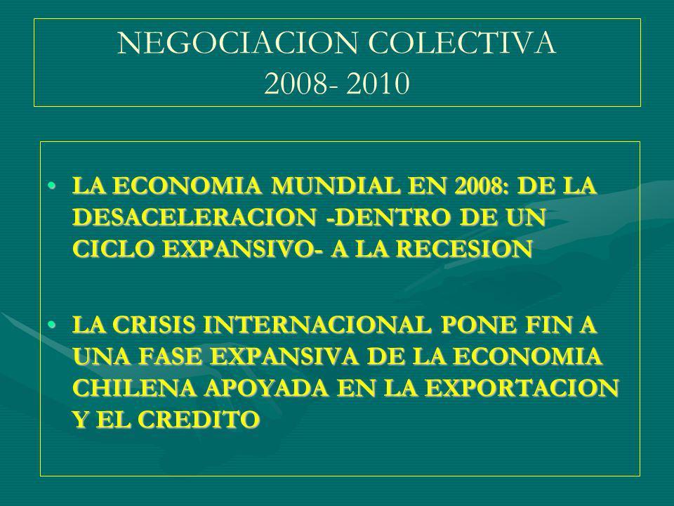NEGOCIACION COLECTIVA 2008- 2010 LA ECONOMIA MUNDIAL EN 2008: DE LA DESACELERACION -DENTRO DE UN CICLO EXPANSIVO- A LA RECESIONLA ECONOMIA MUNDIAL EN 2008: DE LA DESACELERACION -DENTRO DE UN CICLO EXPANSIVO- A LA RECESION LA CRISIS INTERNACIONAL PONE FIN A UNA FASE EXPANSIVA DE LA ECONOMIA CHILENA APOYADA EN LA EXPORTACION Y EL CREDITOLA CRISIS INTERNACIONAL PONE FIN A UNA FASE EXPANSIVA DE LA ECONOMIA CHILENA APOYADA EN LA EXPORTACION Y EL CREDITO