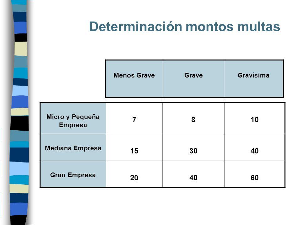 Determinación montos multas Micro y Pequeña Empresa 7810 Mediana Empresa 153040 Gran Empresa 204060 Menos GraveGraveGravísima