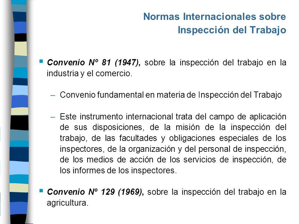 Normas Internacionales sobre Inspección del Trabajo Convenio Nº 81 (1947), sobre la inspección del trabajo en la industria y el comercio. –Convenio fu
