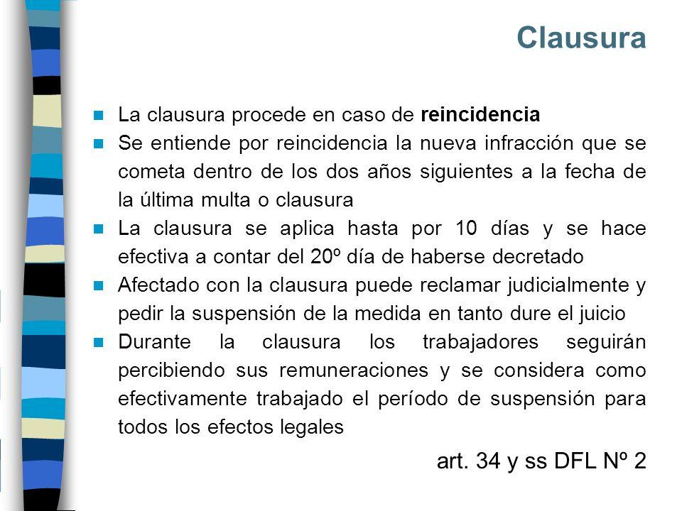 Clausura La clausura procede en caso de reincidencia Se entiende por reincidencia la nueva infracción que se cometa dentro de los dos años siguientes