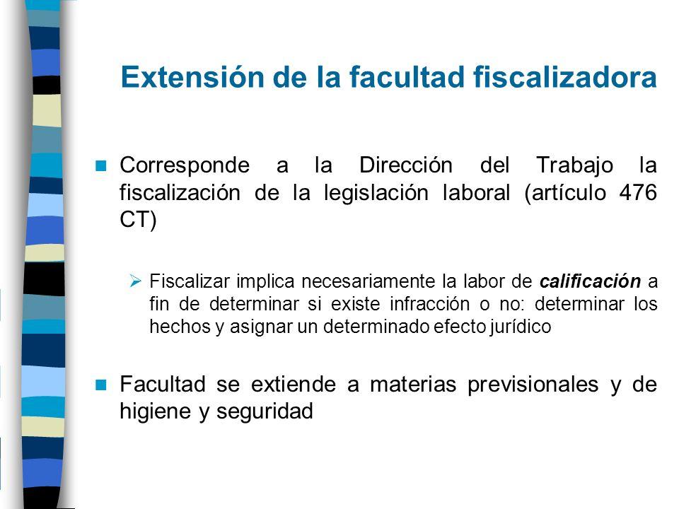 Extensión de la facultad fiscalizadora Corresponde a la Dirección del Trabajo la fiscalización de la legislación laboral (artículo 476 CT) Fiscalizar