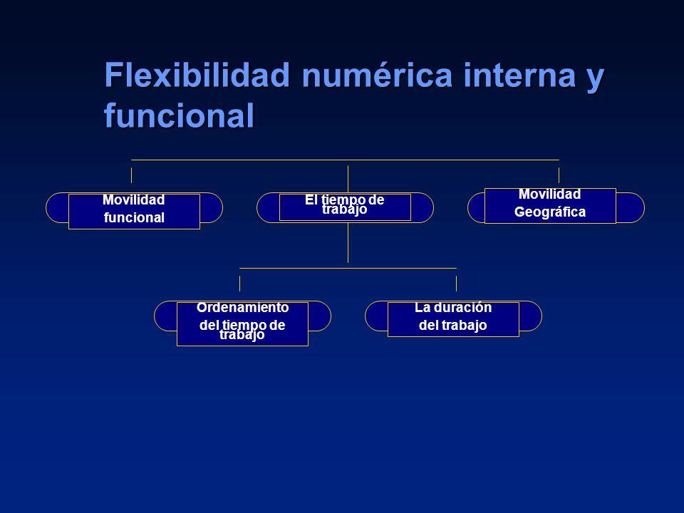 13 Flexibilidad numérica interna y funcional Movilidad funcional El tiempo de trabajo Movilidad Geográfica Ordenamiento del tiempo de trabajo La durac