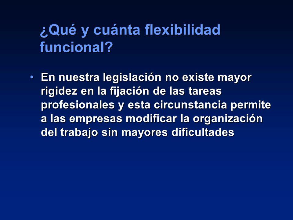 18 En nuestra legislación no existe mayor rigidez en la fijación de las tareas profesionales y esta circunstancia permite a las empresas modificar la
