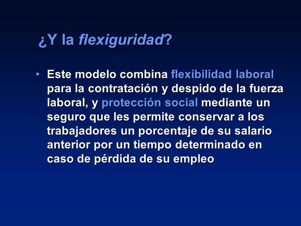 22 ¿Y la flexiguridad? Este modelo combina flexibilidad laboral para la contratación y despido de la fuerza laboral, y protección social mediante un s