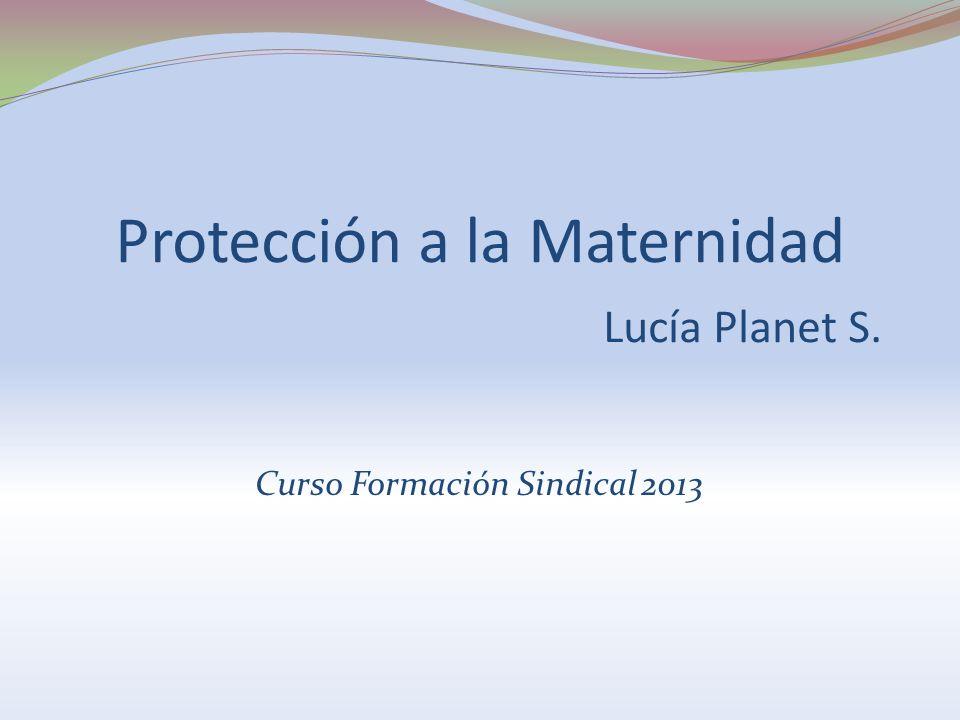 Protección a la Maternidad Lucía Planet S. Curso Formación Sindical 2013