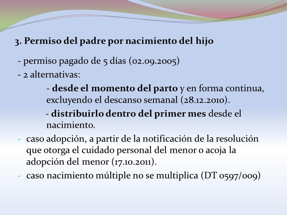3. Permiso del padre por nacimiento del hijo - permiso pagado de 5 días (02.09.2005) - 2 alternativas: - desde el momento del parto y en forma continu