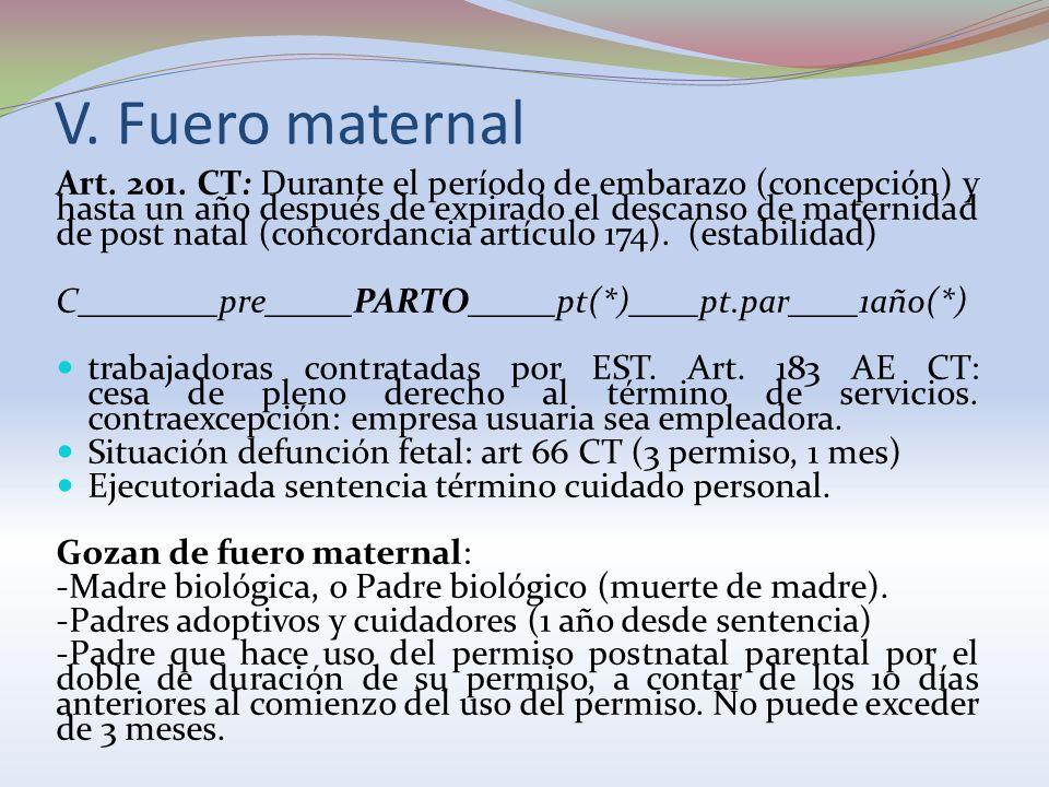V. Fuero maternal Art. 201. CT: Durante el período de embarazo (concepción) y hasta un año después de expirado el descanso de maternidad de post natal