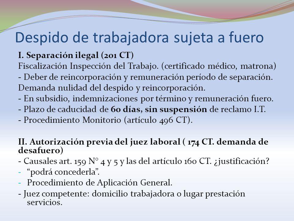 Despido de trabajadora sujeta a fuero I. Separación ilegal (201 CT) Fiscalización Inspección del Trabajo. (certificado médico, matrona) - Deber de rei